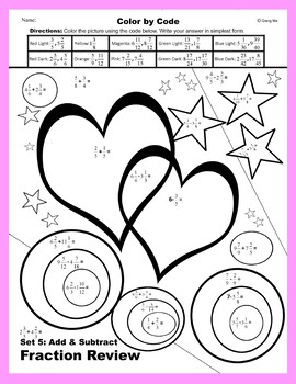 Valentine Color by Code: Add & Subtract Fraction Review