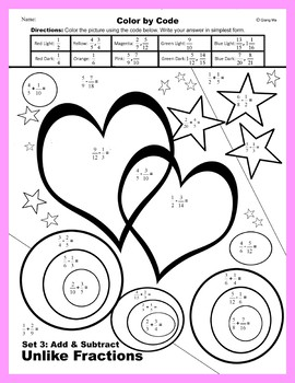 Valentine Color by Code: Add & Subtract Unlike Fractions