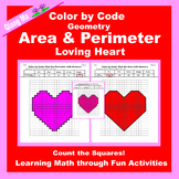 Valentine Color by Code: Area and Perimeter: Count Squares