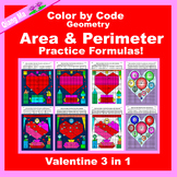Valentine Color by Code: Area and Perimeter: Practice Formulas 3 in 1