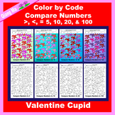 Valentine Color by Code: Compare Numbers to 5, 10, 20, & 100: Cupid