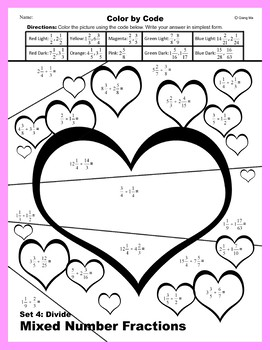 Valentine Color by Code: Divide Mixed Number Fractions