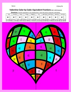 Valentine Color by Code: Equivalent Fractions