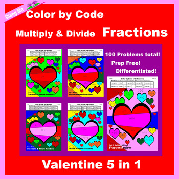 Valentine Color by Code: Fractions: Add, Subtract, Multiply, & Divide 10 in 1