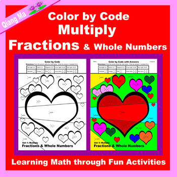 Valentine Color by Code: Multiply Fractions & Whole Numbers