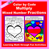 Valentine Color by Code: Multiply Mixed Number Fractions