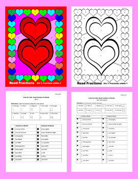 Valentine Color by Code: Read Fractions