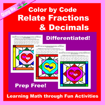 Valentine Color by Code: Relate Fractions and Decimals