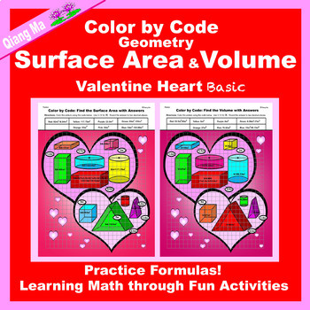 Valentine Color by Code: Surface Area and Volume 2 in 1: Practice Formulas!