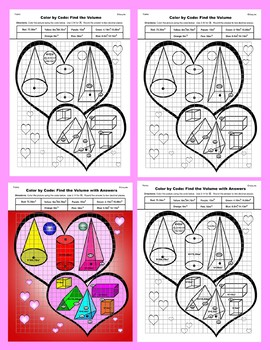 Valentine Color by Code: Surface Area and Volume: Practice Formulas Std: Heart