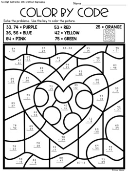 Valentine Color by Code - Two-Digit and Three Digit Addition and Subtraction