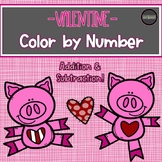 Valentine Color by Number -Addition & Subtraction-