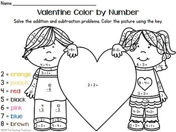 valentine color by number addition subtraction within 10 tpt. Black Bedroom Furniture Sets. Home Design Ideas