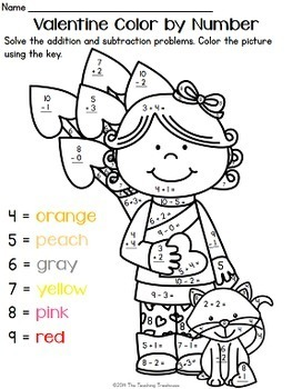 Valentine Color by Number, Addition & Subtraction Within 10