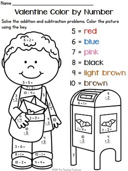 Valentine Color by Number, Addition & Subtraction Within ...