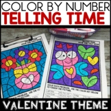 Valentine Color by Number Telling Time to the Hour and Half Hour Worksheets