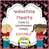 Valentine Color by Number and Word ~ EDITABLE