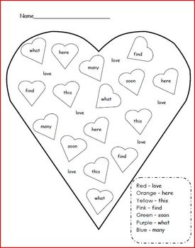 Valentine's Day Color the Sight Word
