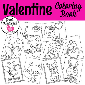 Valentine Coloring Book   Animals with Hearts