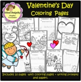 Valentine Coloring Pages and Writing Prompts / Papers (Sch