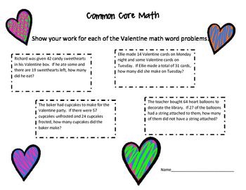 Valentine Common Core Math Word Problem Handout
