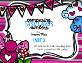 Valentine Comparing Numbers Task Cards with/without QR Codes