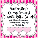 48 Valentine Compliment Cards w Rebus Words and Figurative Language