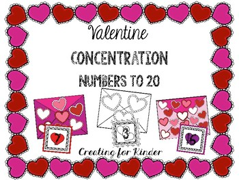Valentine Concentration Numbers to 20