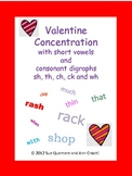 Valentine Concentration and Sort with Short Vowels and Consonant Digraphs