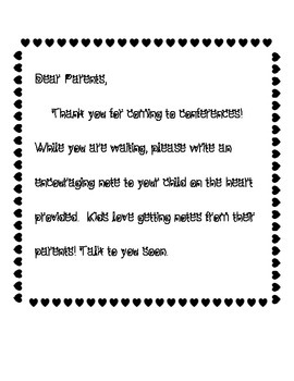 Valentine Conference Note From Parent to Student