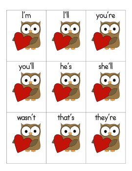 Valentine Contractions Matching Game