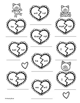 Valentine Contractions Worksheet by 4 Little Baers  TpT