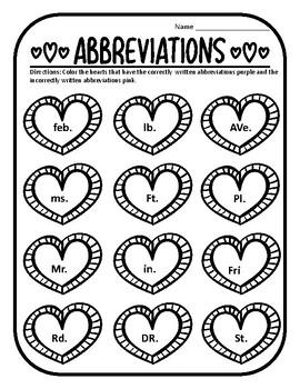 Valentine Abbreviations Valentines Grammar Worksheet Valentines Day Abbreviation