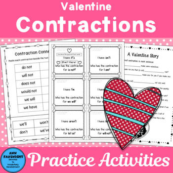 Valentine Contractions Activities Worksheets and Games