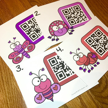 Contractions with QR Codes Task Cards - Love Bugs