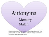 Valentine Conversation Heart Antonyms Memory Match Game