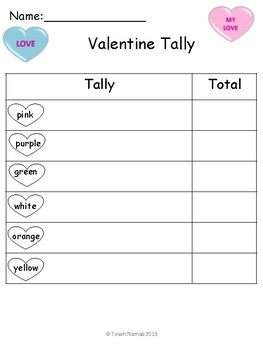 Valentine Conversation Heart Tally & Graph