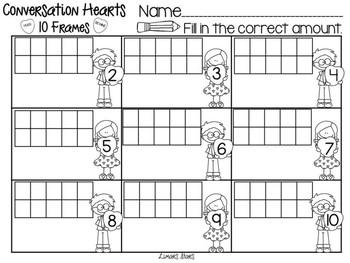 Valentine Conversation Hearts 10 Frames