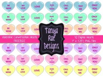 Valentine Conversation Hearts Clip Art {FREEBIE}