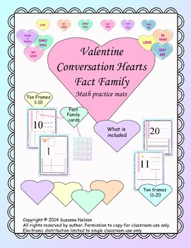 Valentine Conversation Hearts Fact Family Math Mats