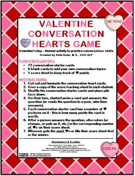 Valentine Conversation Hearts Game -- pragmatics, conv. skills, ASD, ESL, Speech