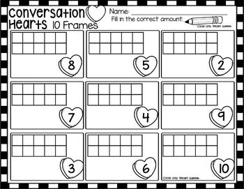 Valentine Conversation Hearts Ten Frames (includes worksheet)