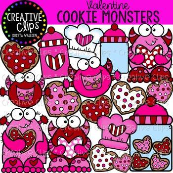 Valentine Cookie Monsters: Valentine Clipart {Creative Clips Clipart}