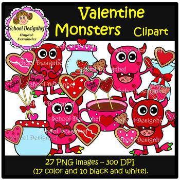 Valentine Cookies Clip Art (School Design)