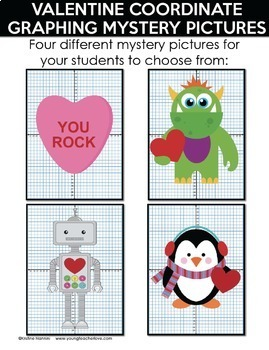 Valentine Coordinate Graphing Ordered Pairs {Mystery Pictures}