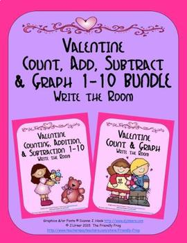 Valentine Count, Add, Subtract & Graph: Write the Room BUNDLE