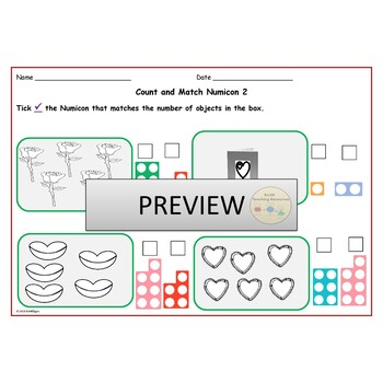 St. Valentine Count & Match Pattern Sequences,  Ten Frames FlashCards Worksheets