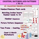 St. Valentine Count & Match Pattern Sequences,  Ten Frames