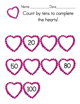 Valentine Count by Tens