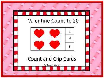 Valentine's Day Task Cards Counting to 20 Kindergarten Autism Math Centers